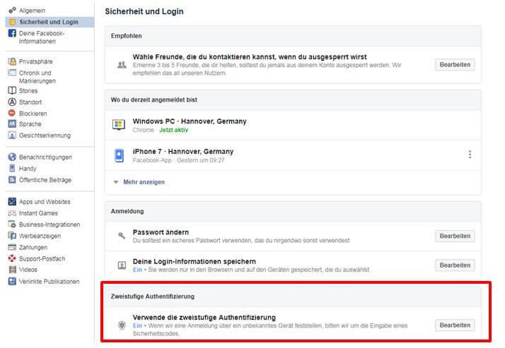 Zweistufige Authentifizierung auf Facebook einrichten